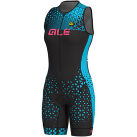 Alé Cycling Triathlon Rush Traje Triatlón Largo sin mangas Mujer, black-light blue